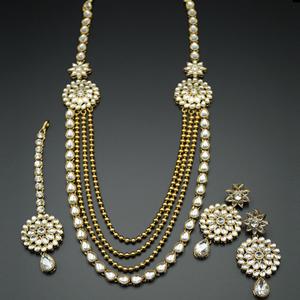 Balan White Kundan Rani Haar Set - AntiqueGold