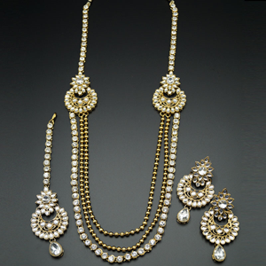 Erhi White Kundan and Diamante Rani Haar Set - AntiqueGold