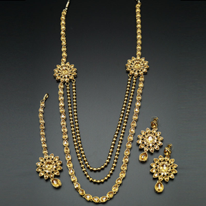 Geena Gold Kundan and Diamante Rani Haar Set - AntiqueGold