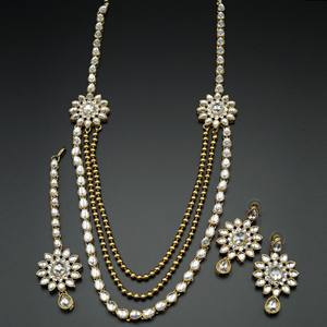 Geena White Kundan and Diamante Rani Haar Set - AntiqueGold