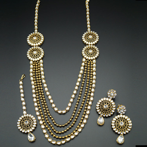 Haak White Kundan and Diamante Rani Haar Set - AntiqueGold