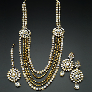 Piya White Kundan and Diamante Rani Haar Set - AntiqueGold
