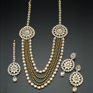 Jagvi White Kundan and Diamante Rani Haar Set - AntiqueGold