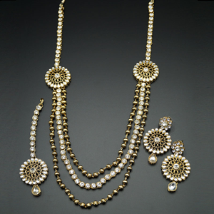 Ojas White Kundan and Diamante Rani Haar Set - AntiqueGold