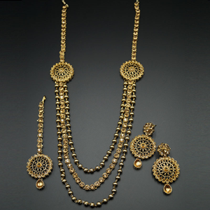Ojas Gold Kundan and Diamante Rani Haar Set - AntiqueGold