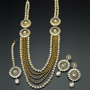 Keya White Kundan and Diamante Rani Haar Set - AntiqueGold