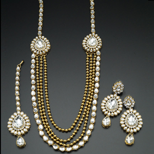 Pihu White Kundan/Diamante Rani Haar Set - AntiqueGold