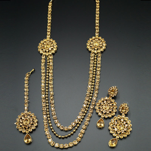 Mitul Gold Kundan/Diamante Rani Haar Set - AntiqueGold