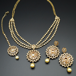 Ira Gold Polki Stone and Pearl Necklace Set - AntiqueGold