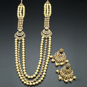 Magdi Gold Polki Stone and Pearl's Rani Haar Set - AntiqueGold