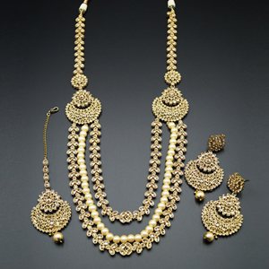 Nari Gold Polki Stone and Pearl's Rani Haar Set - AntiqueGold