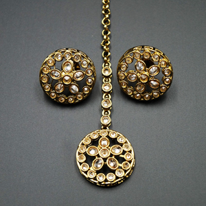 Noya Gold Polki Stone and Pearl's Rani Haar Set - AntiqueGold