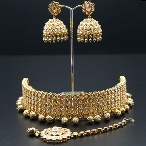 Jivika Gold Polki Stone and Metal Droplets Choker Necklace Set - AntiqueGold