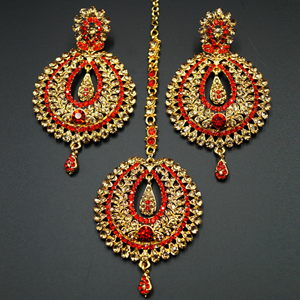 Kyra Red Diamante Earring Tikka Set - Gold