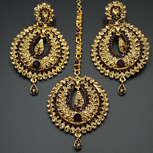 Kyra Dark Purple Diamante Earring Tikka Set - Gold