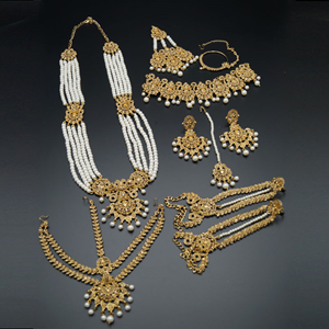 Dharma Gold Diamante And Pearl Wedding Set-Gold
