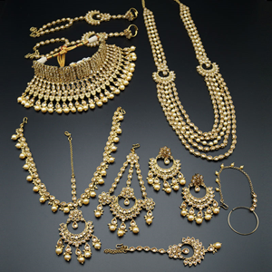 Bineet Gold Polki Wedding Set With Pearls-AntiqueGold