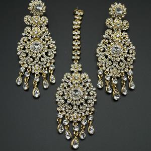 Nashi White Diamante Earring Tikka Set - Gold