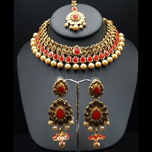 Amita Red/Gold Stone Pearl Necklace Set - Gold