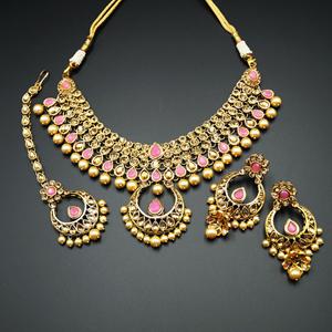 Pankita Light Pink/Gold Choker Necklace Set - Gold