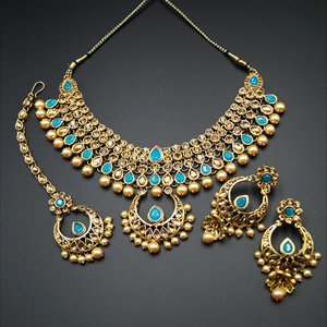 Pankita Turquoise and Gold Choker Necklace Set - Gold