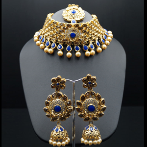 Nira Royal Blue/Gold Choker Necklace Set - Gold
