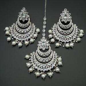 Banhi- White Polki Stone Earring Tikka Set - Silver