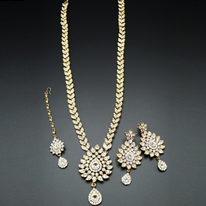 Atmiya White Diamante Set-Gold