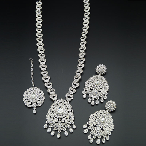 Barsha White Diamante Set-Silver