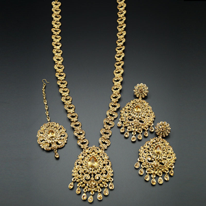 Barsha Gold Diamante Set-Gold