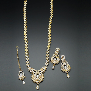 Anam White Diamante Set-Gold