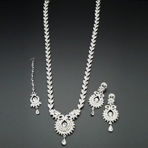 Anam White Diamante Set-Silver