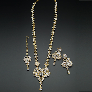 Viren White Diamante Set-Gold