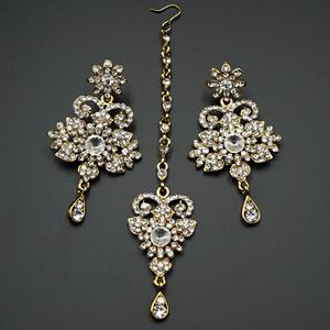 Viren White Diamante Set-Gold