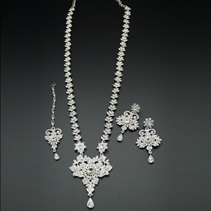 Viren White Diamante Set - Silver