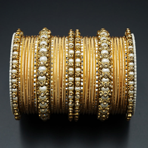 Hayat Gold Diamante and White Pearl Bangle Set - Gold