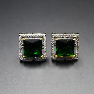 Bidu- Green/White Gemstones Earrings - Antique Silver