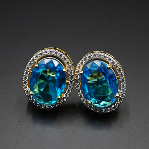 Indu-  Turquoise/White Gemstones Earrings - Gold