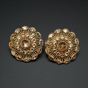 Enam- Gold Polki Stone Earrings - Gold