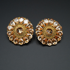 Aparna- Gold Polki Stone Earrings - Gold