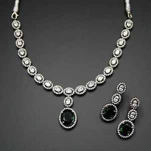 Leena Green/White Diamante Necklace Set - Antique Silver