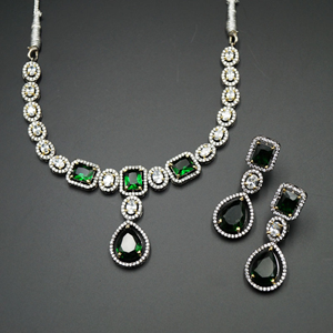 Vena Green/White Diamante Necklace Set - Antique Silver