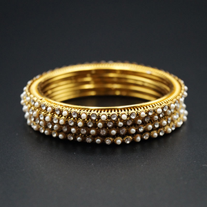 Lekha  White Diamante /Pearls Bangles - Antique Gold