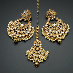 Meher -Gold Polki Stone and Pearl Earring Tikka Set - Antique Gold