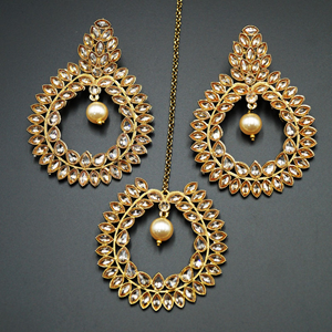 Sakhi - Gold Polki Stone and Pearl Earring Tikka Set - Antique Gold