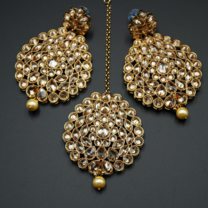 Rubani - Gold Polki Stone and Pearl Earring Tikka Set - Antique Gold