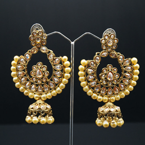 Noor - Gold Polki Stone and Pearl Earring - Antique Gold