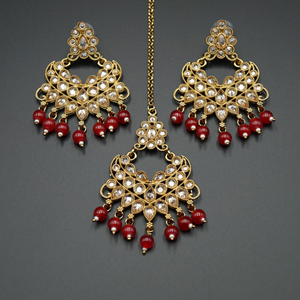 Yasti- Red/Gold Polki Stone Earring Tikka Set - Gold