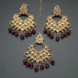 Yasti- Maroon/Gold Polki Stone Earring Tikka Set - Gold