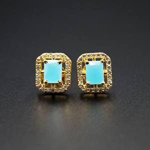 Chara- Turquoise/ White Gemstones Earrings - Gold